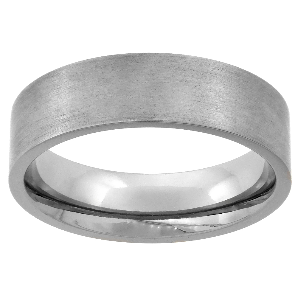Titanium 6mm Wedding Band Ring Square Edges Brushed Finish Flat Comfort Fit, sizes 7 - 14
