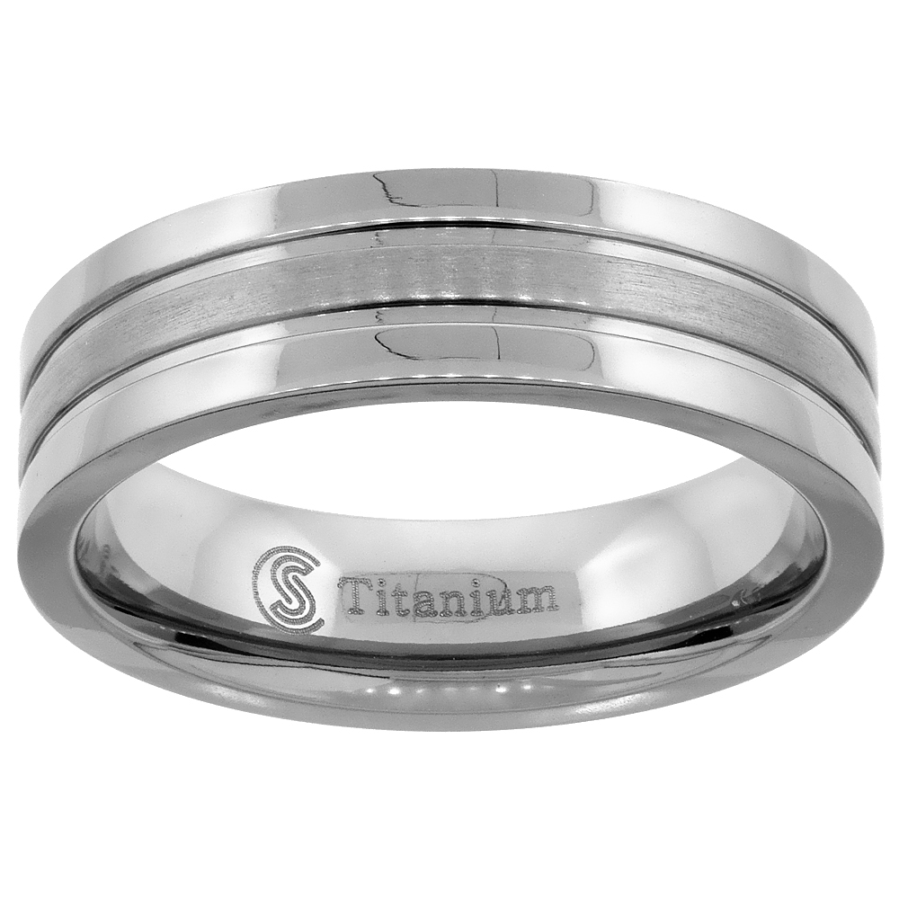 5mm 7mm Titanium Rings for Men Polished Stripe Center Flat Comfort Fit sizes 7 - 14