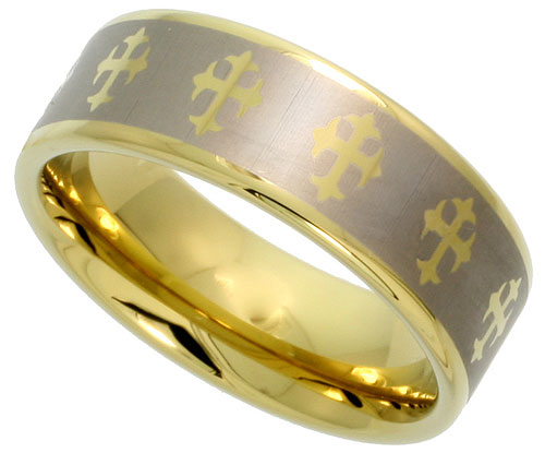 8mm Gold Tungsten Ring Flat Wedding Band Crosses, sizes 8 to 15