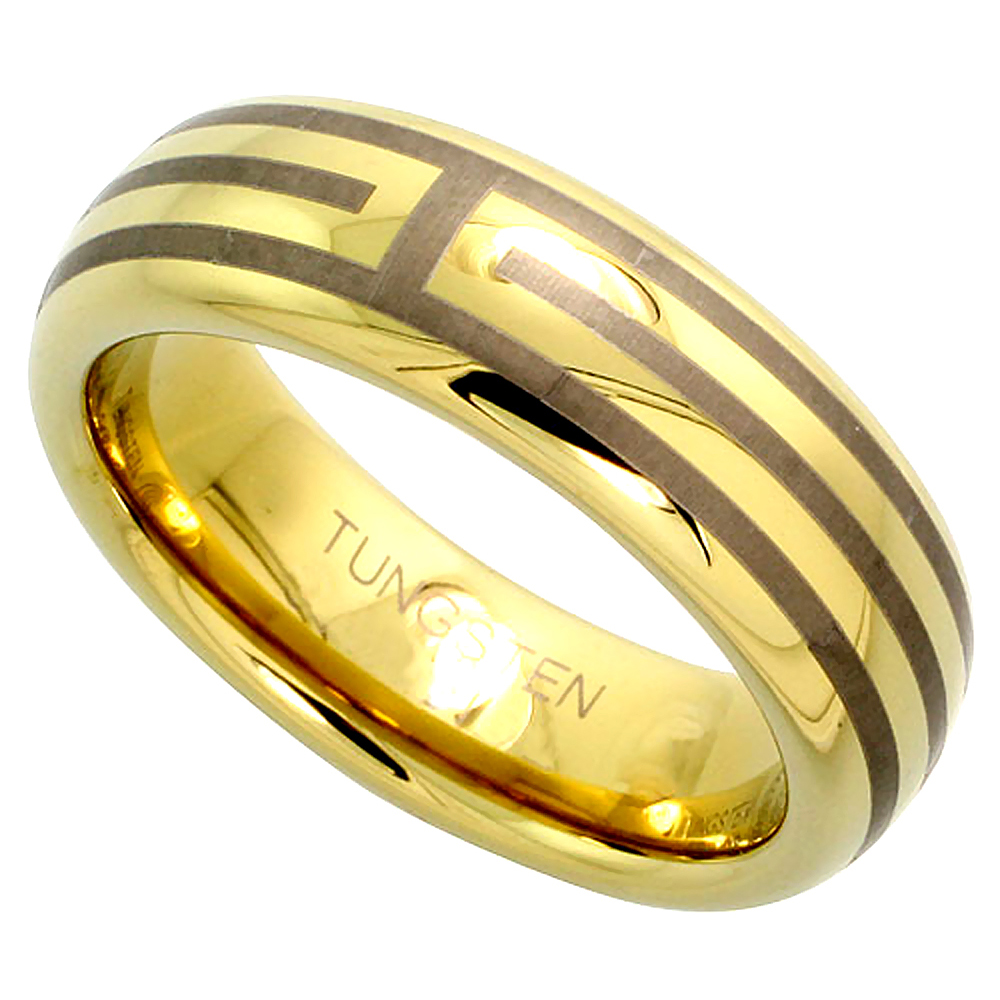 6mm Gold Tungsten Ring Dome Wedding Band 3 Stripes Comfort fit, sizes 5 to 14