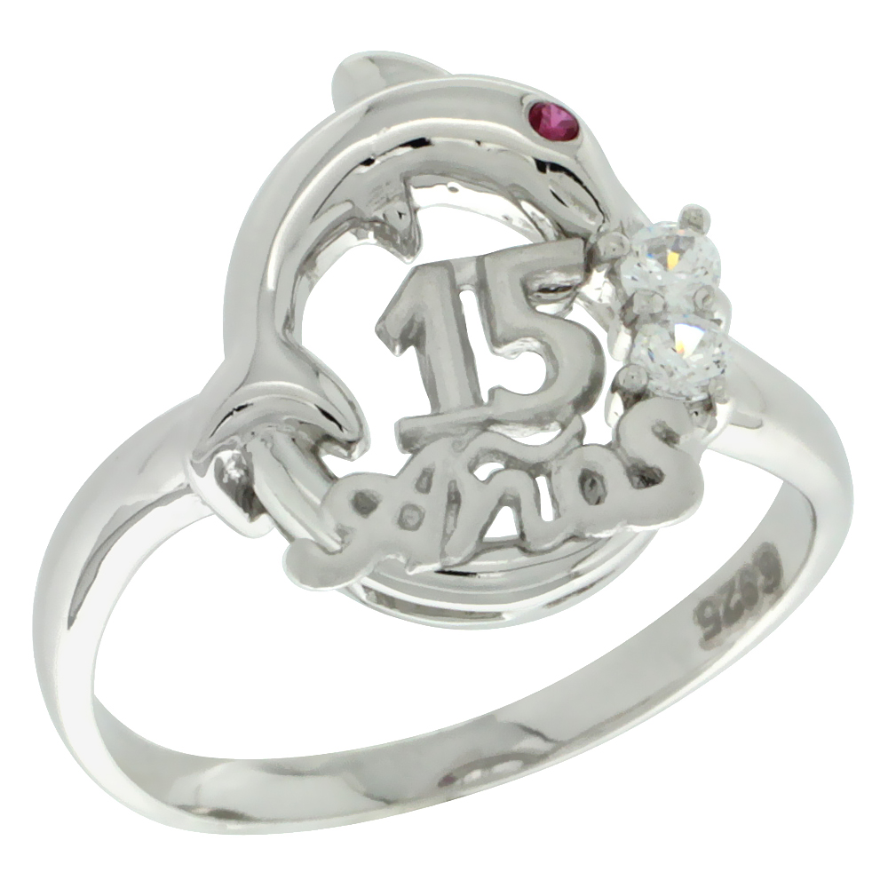 Sterling Silver Quinceanera 15 Anos Dolphin Ring CZ stones Rhodium Finished, 1/2 inch wide, sizes 5 - 8