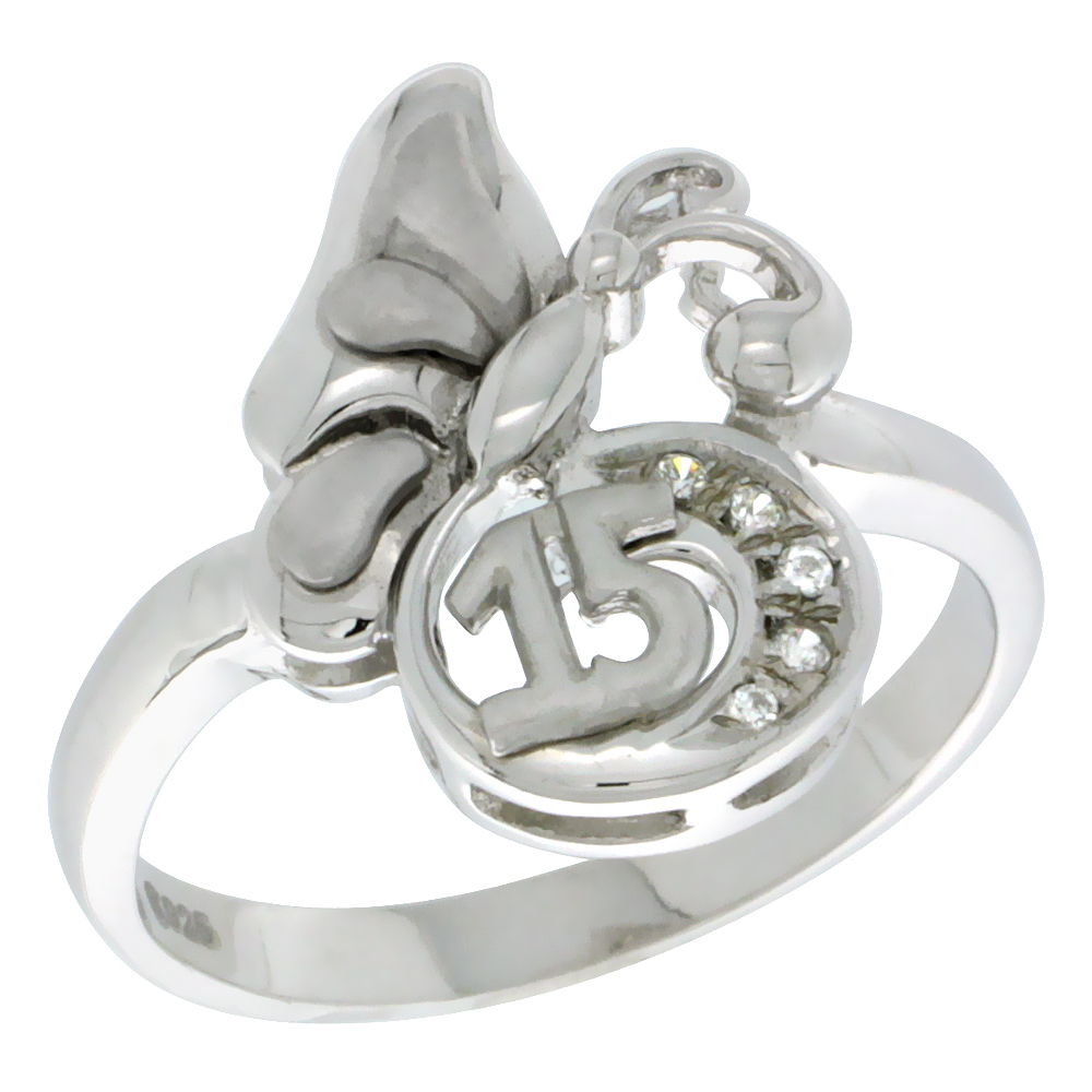 Sterling Silver Quinceanera 15 Anos Butterfly Ring CZ stones Rhodium Finished, 1/2 inch wide, sizes 5 - 8