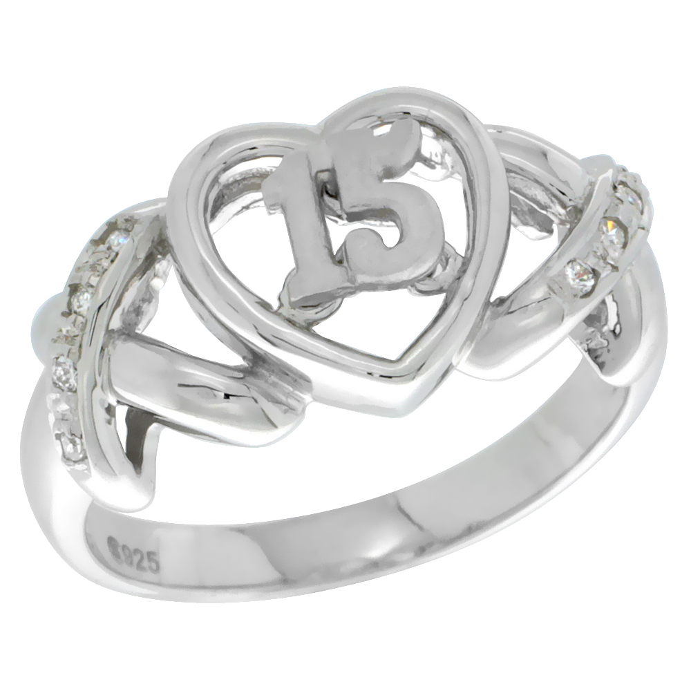 Sterling Silver Quinceanera 15 Anos Ring Hearts and Kisses CZ stones Rhodium Finished, 3/8 inch wide, sizes 5 - 8