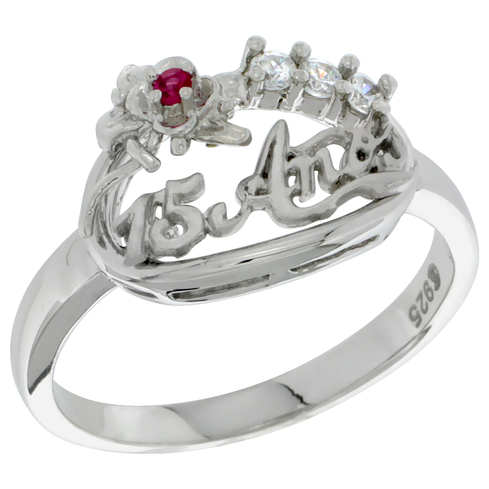 Sterling Silver Quinceanera 15 Anos Flower Ring CZ stones Rhodium Finished, 5/8 inch wide, sizes 5 - 8