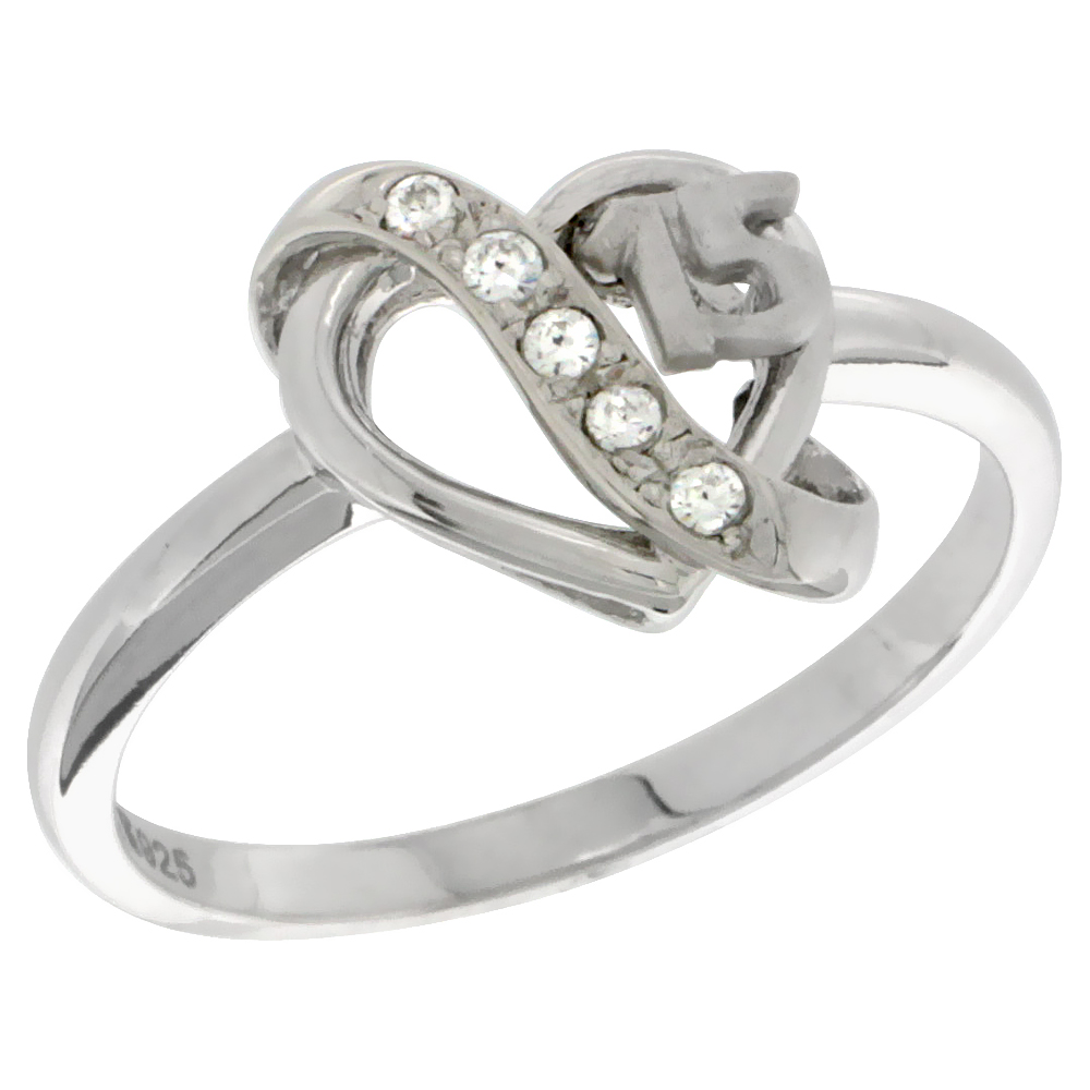 Sterling Silver Quinceanera 15 Anos Heart Ring CZ stones Rhodium Finished, 15/32 inch wide, sizes 5 - 8