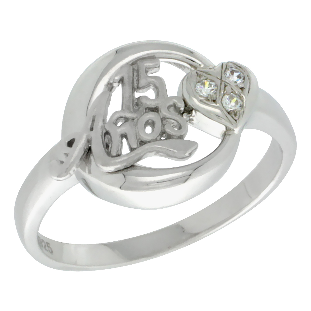 Sterling Silver Quinceanera 15 Anos Heart Ring CZ stones Rhodium Finished, 5/8 inch wide, sizes 5 - 8