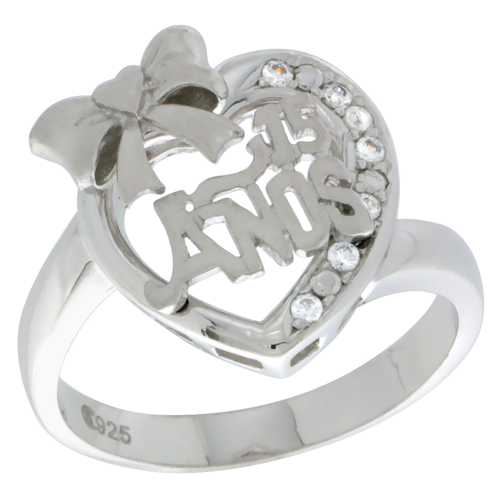 Sterling Silver Quinceanera 15 Anos Ribbon Heart Ring CZ stones Rhodium Finished, 5/8 inch wide, sizes 5 - 8