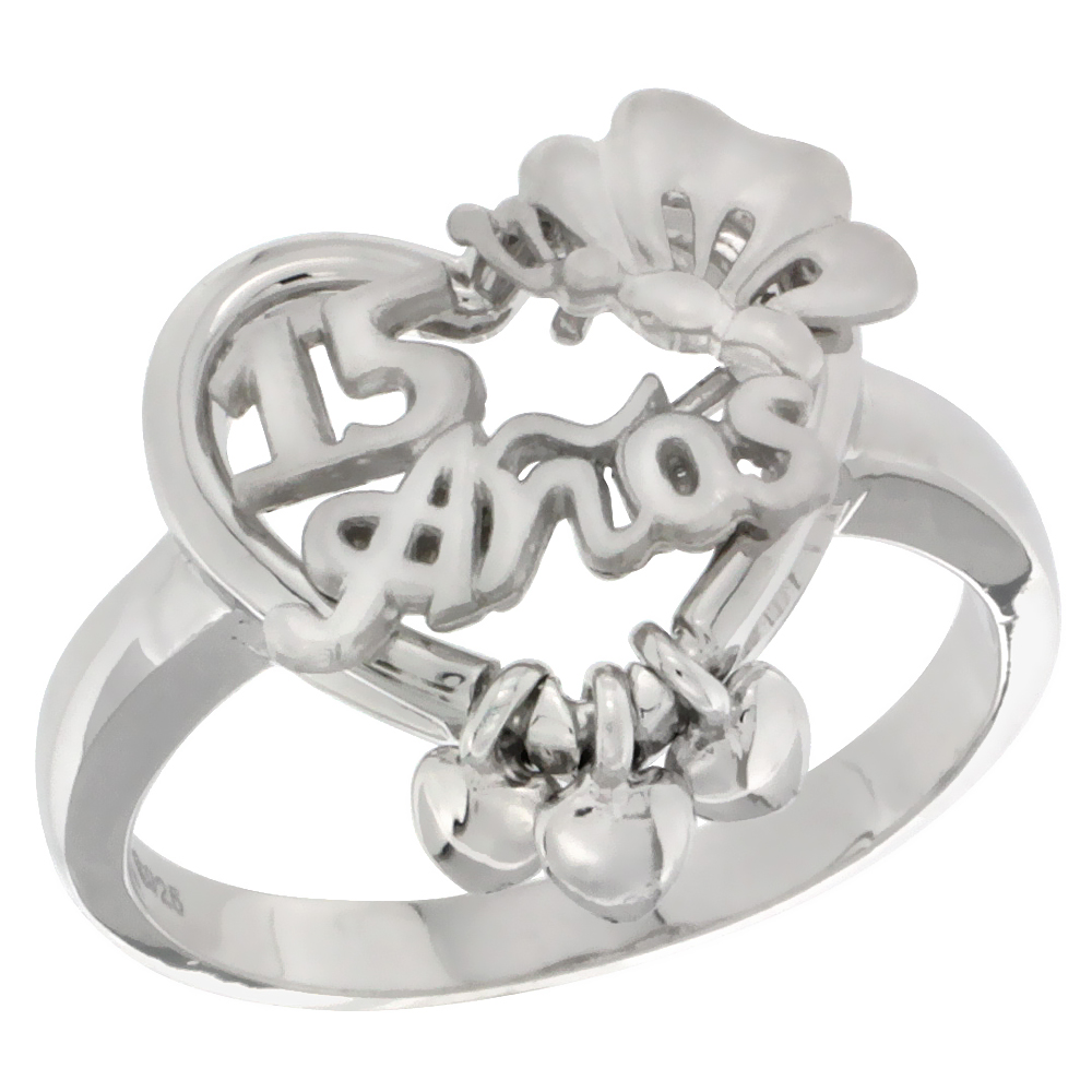 Sterling Silver Quinceanera 15 Anos Butterfly Triple Hearts Ring Rhodium Finished, 5/8 inch wide, sizes 5 - 8