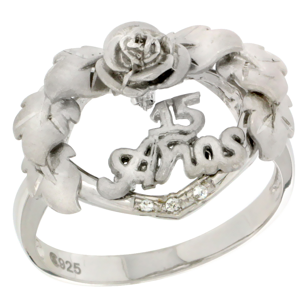 Sterling Silver Quinceanera 15 Anos Heart Wreath Ring CZ stones Rhodium Finished, 25/32 inch wide, sizes 5 - 8