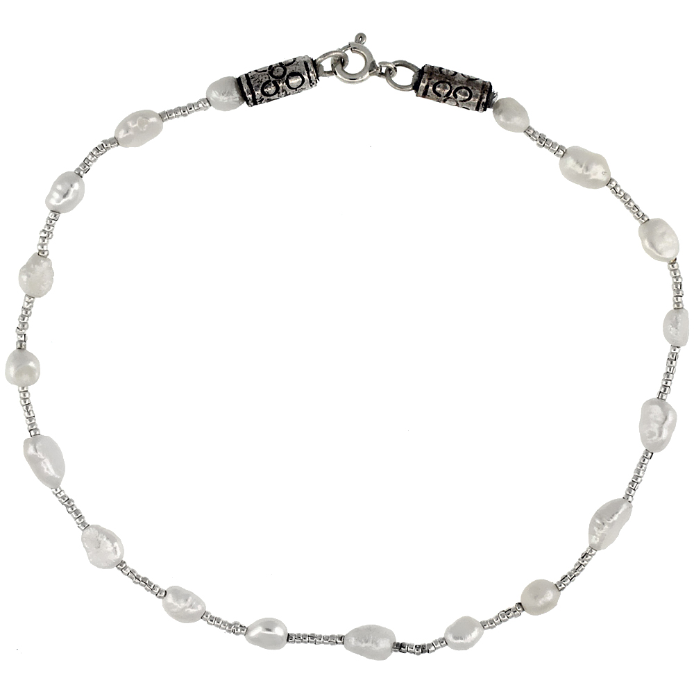 9 1/2 in. Sterling Silver Freshwater Pearl Bead Anklet