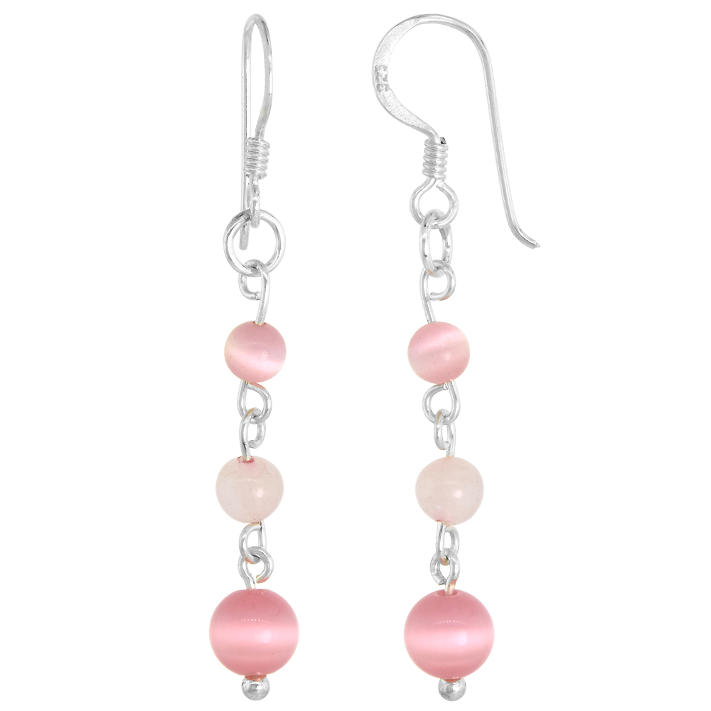 Sterling Silver Natural Bead Rose Quartz and Cat's Eye Fishhook Earrings, 1 3/4 inch long