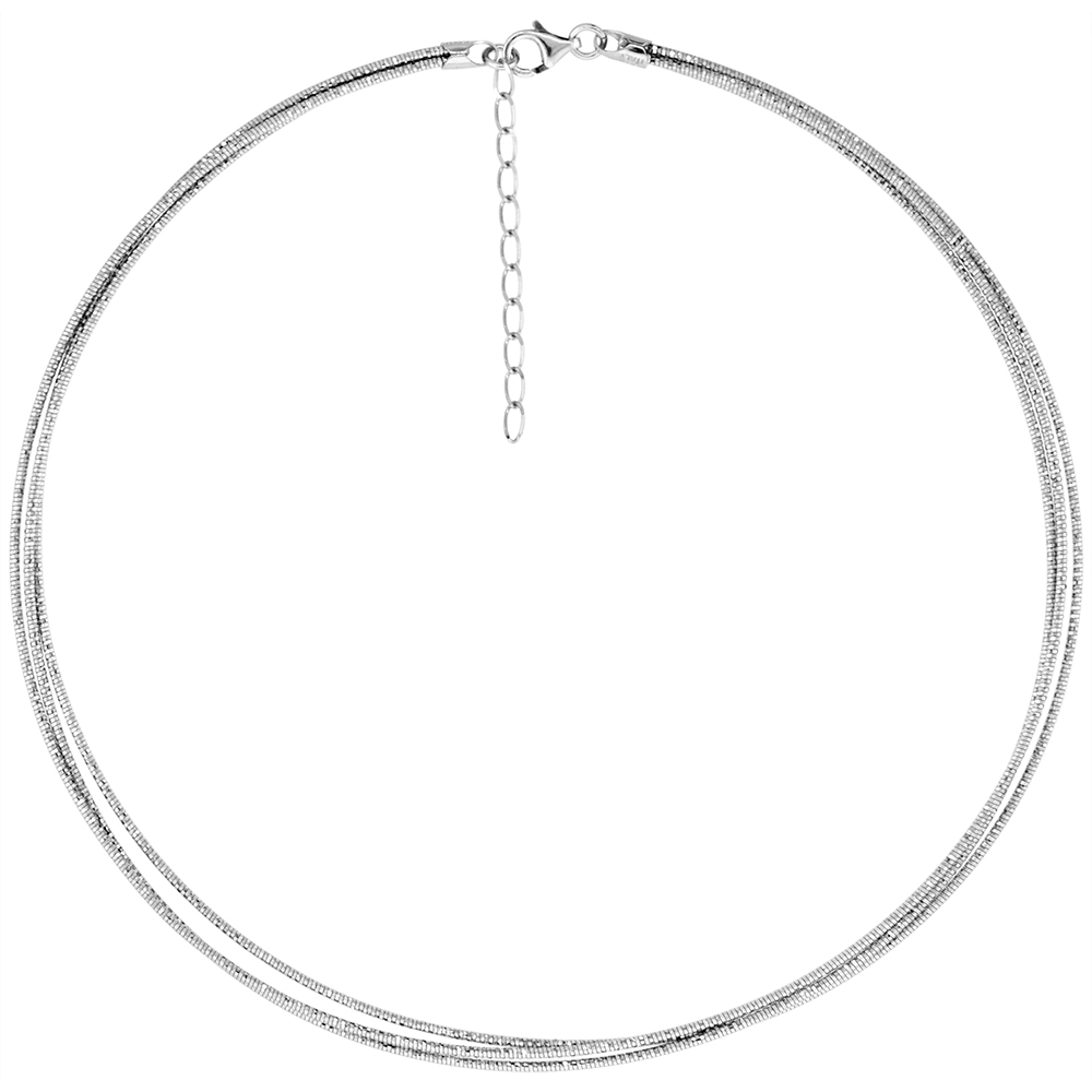 Sparkling Sterling Silver 3 Layer Round Omega Necklace Choker for Women 1.5 mm Diamond cut Nickel Free Italy sizes 7-18 inch