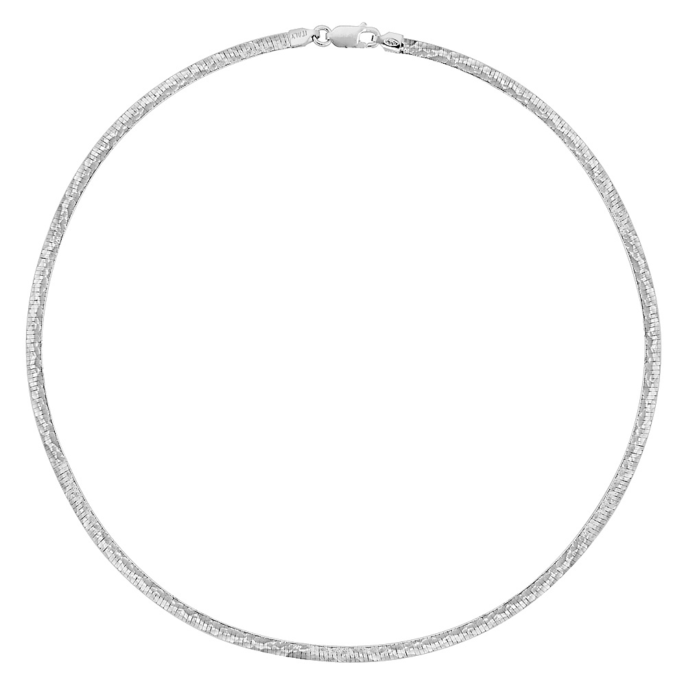 Sterling Silver Reversible Omega Collar Necklace Hammered Finish Nickel Free 3/16 wide, sizes 16 - 20 inch