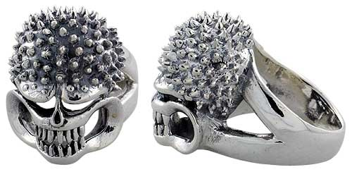 Sterling Silver Gothic Biker Skull Ring w/ Spikes, 1 1/16 inch wide, sizes 9-14