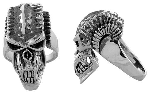 Sterling Silver Gothic Biker Skull Ring w/ Spikes, 1 3/8 inch wide, sizes 9-14