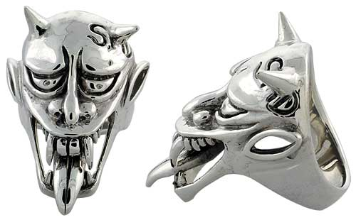 Sterling Silver Demon Head Gothic Biker Ring with tongue, 1 5/8 inch wide, sizes 9-14