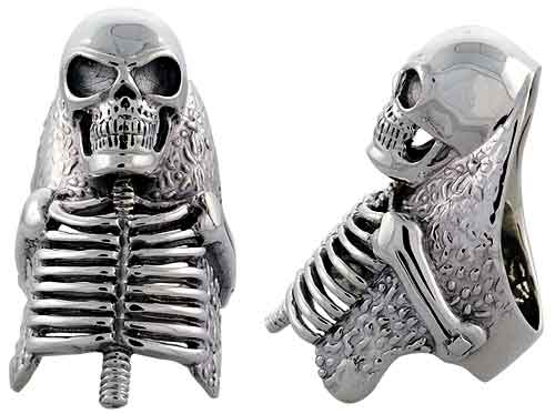 Sterling Silver Skeleton Gothic Biker Ring, 2 inch wide, sizes 9-14