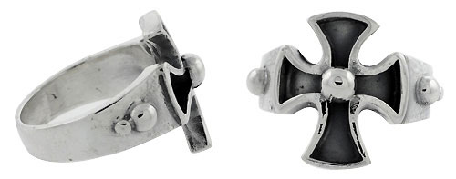 Sterling Silver Maltese / Iron Cross Gothic Biker Ring w/ Bead 11/16 inch wide, sizes 9-14
