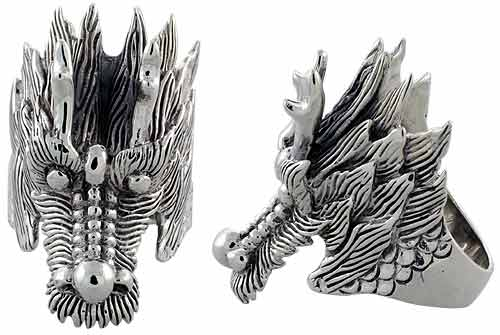 Sterling Silver Dragon's Head Gothic Biker Ring, 1 3/4 inch wide, sizes 9-14