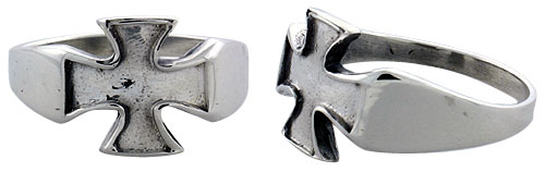 Sterling Silver Maltese / Iron Cross Gothic Biker Ring, 1/2 inch wide, sizes 9-14