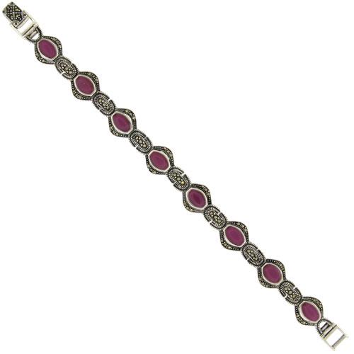 Sterling Silver Oval Link Marcasite Bracelet Purple Resin Inlay, 1/2 inch wide