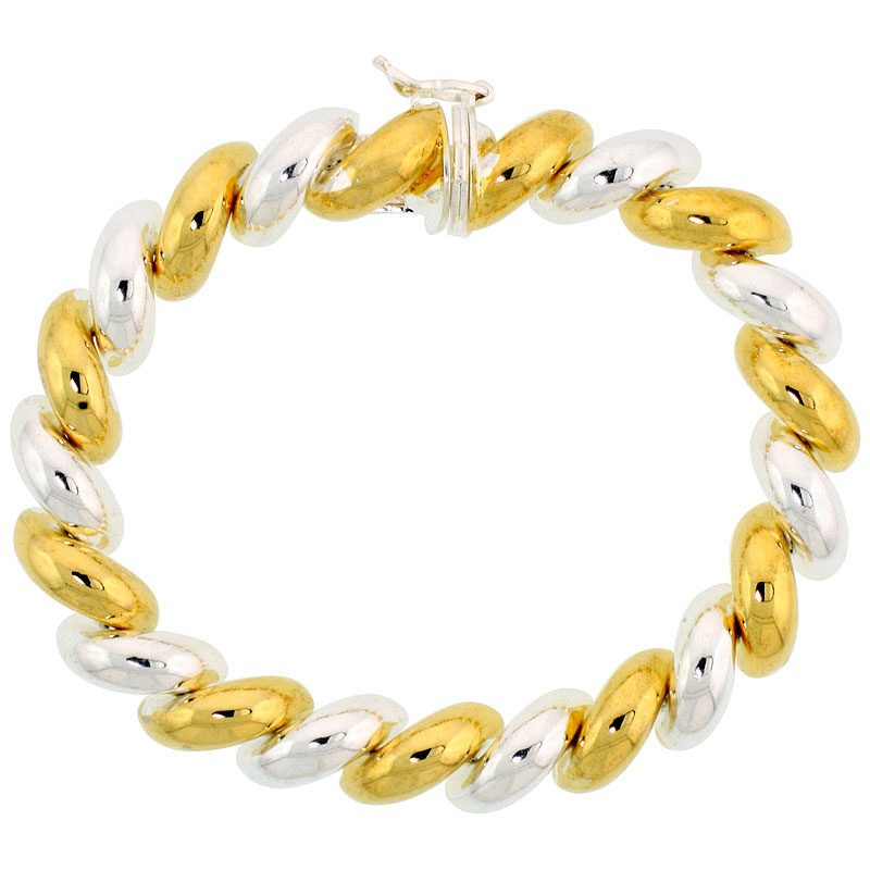 Sterling Silver Medium San Marco Bracelets and Necklaces Two-tone Gold finish Italian 3/8 inch wide