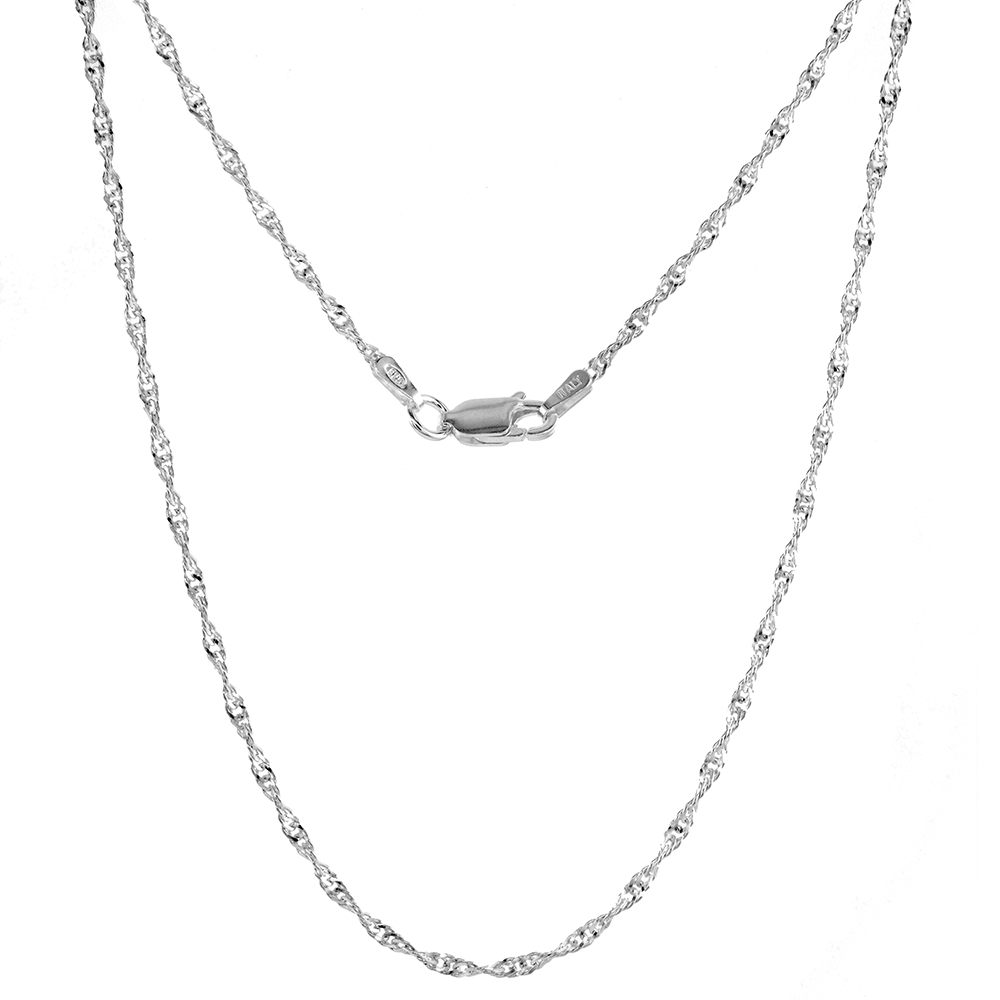 1.7 - 3.3mm Sterling Silver Singapore Chain Necklace Nickel Free Italy sizes 7 - 30 inch