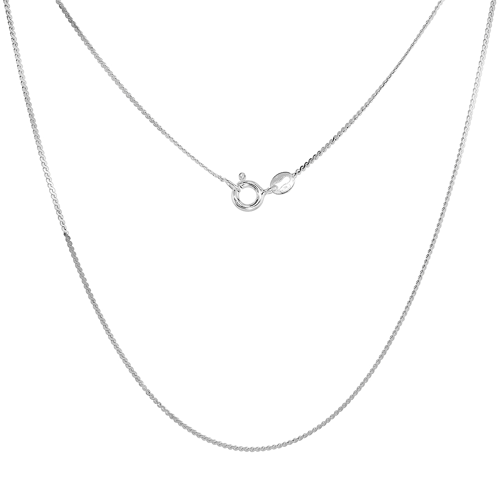 Sterling Silver Thin Serpentine Necklace Chain 1mm Nickel Free Italy 16 inch
