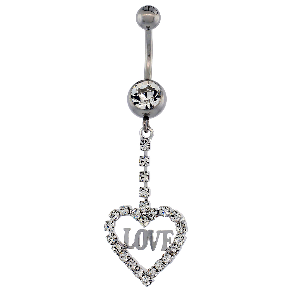 Surgical Steel Barbell Heart LOVE Belly Button Ring w/ Crystals, 1 5/8 inch
