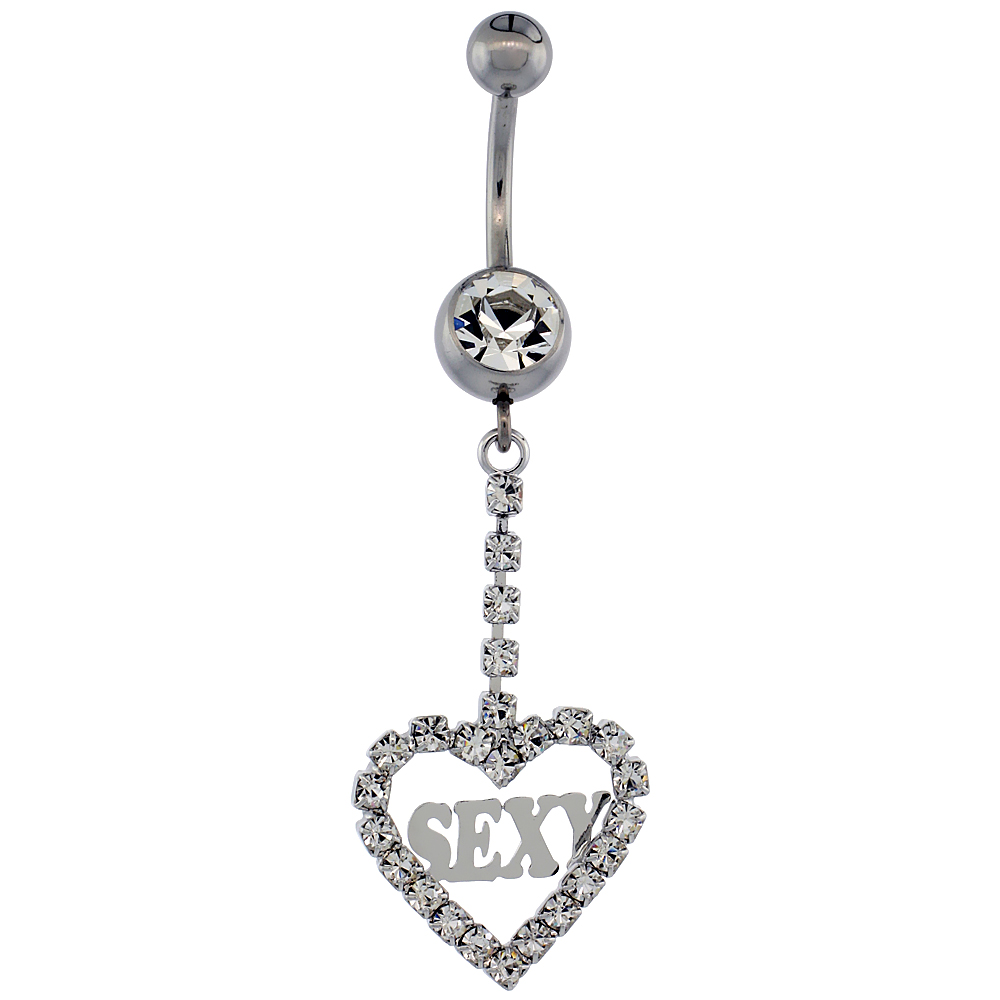 Surgical Steel Barbell Heart SExY Belly Button Ring w/ Crystals, 1 5/8 inch
