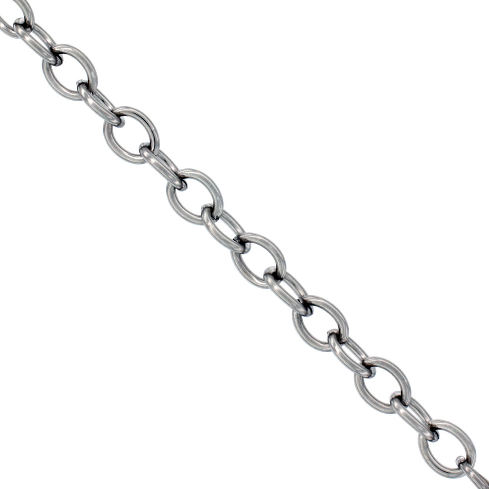 Stainless Steel Cable Link Chain 6 mm, By the Yard