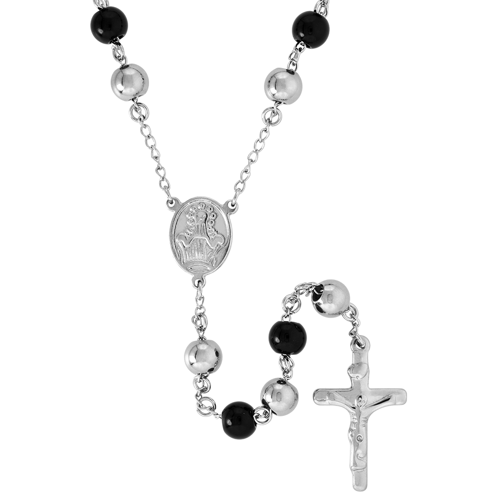 Stainless Steel 30 inch Rosary Necklace w/ 8mm Beads