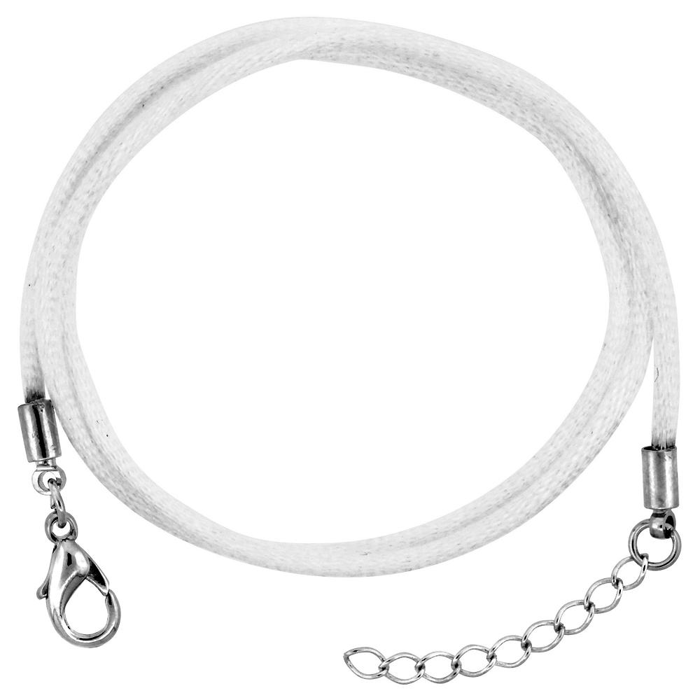 Jewelry White Silk Cord Chain Necklace Stainless Steel Lobster Clasp, sizes 16 & 18 + 1 inch extension