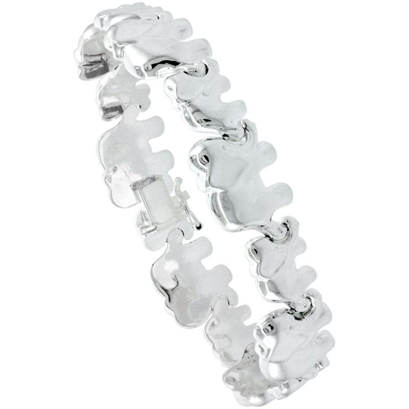 Sterling Silver Stampato Elephant Link Necklace or Bracelet , 1/2 in. (13mm) wide