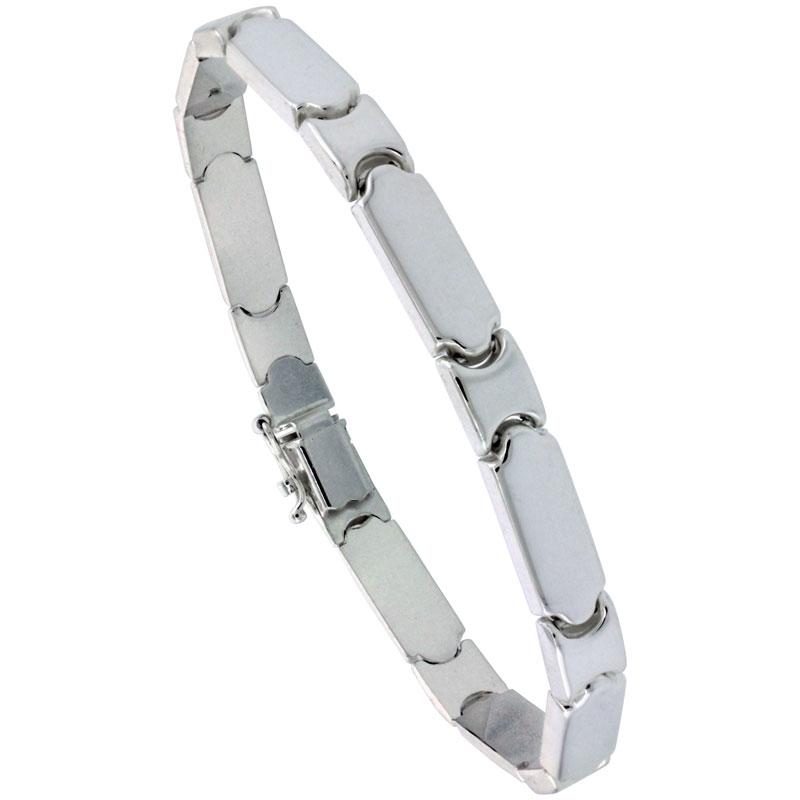 Sterling Silver Stampato Bar Link Necklace or Bracelet , 1/4 in. (6mm) wide