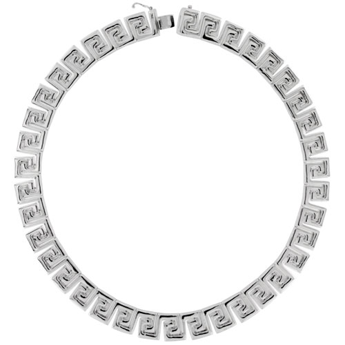 Sterling Silver Stampato Bracelet & Matching Necklace , 9/16 in. (15mm) wide