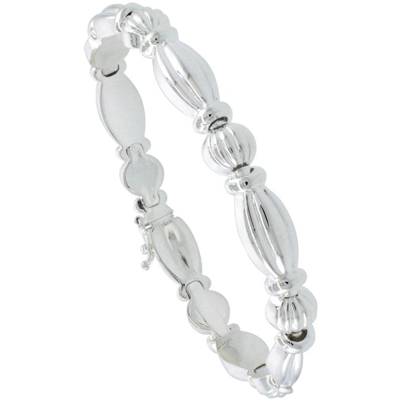 Sterling Silver Stampato Oval Link Necklace or Bracelet , 5/16 in. (8mm) wide