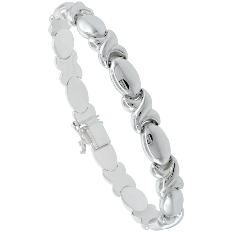 Sterling Silver Stampato XOXO Link Hugs & Kisses Necklace or Bracelet , 9/32 in. (7.5mm) wide