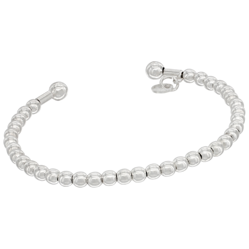 Sterling Silver Flexible Cuff 3mm Bead Bracelet