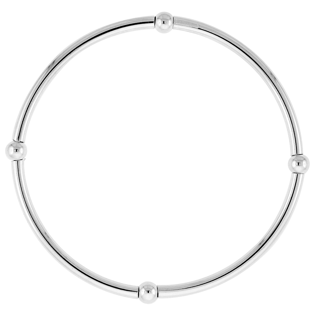 Sterling Silver Stretch Bangle Bracelets for Women Stackable 4 Section with Single Beads