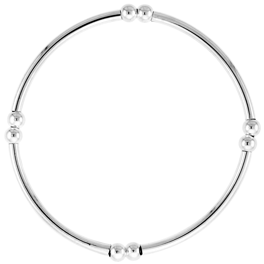 Sterling Silver Stretch Bangle Bracelets for Women Stackable 4 Section with Double Beads