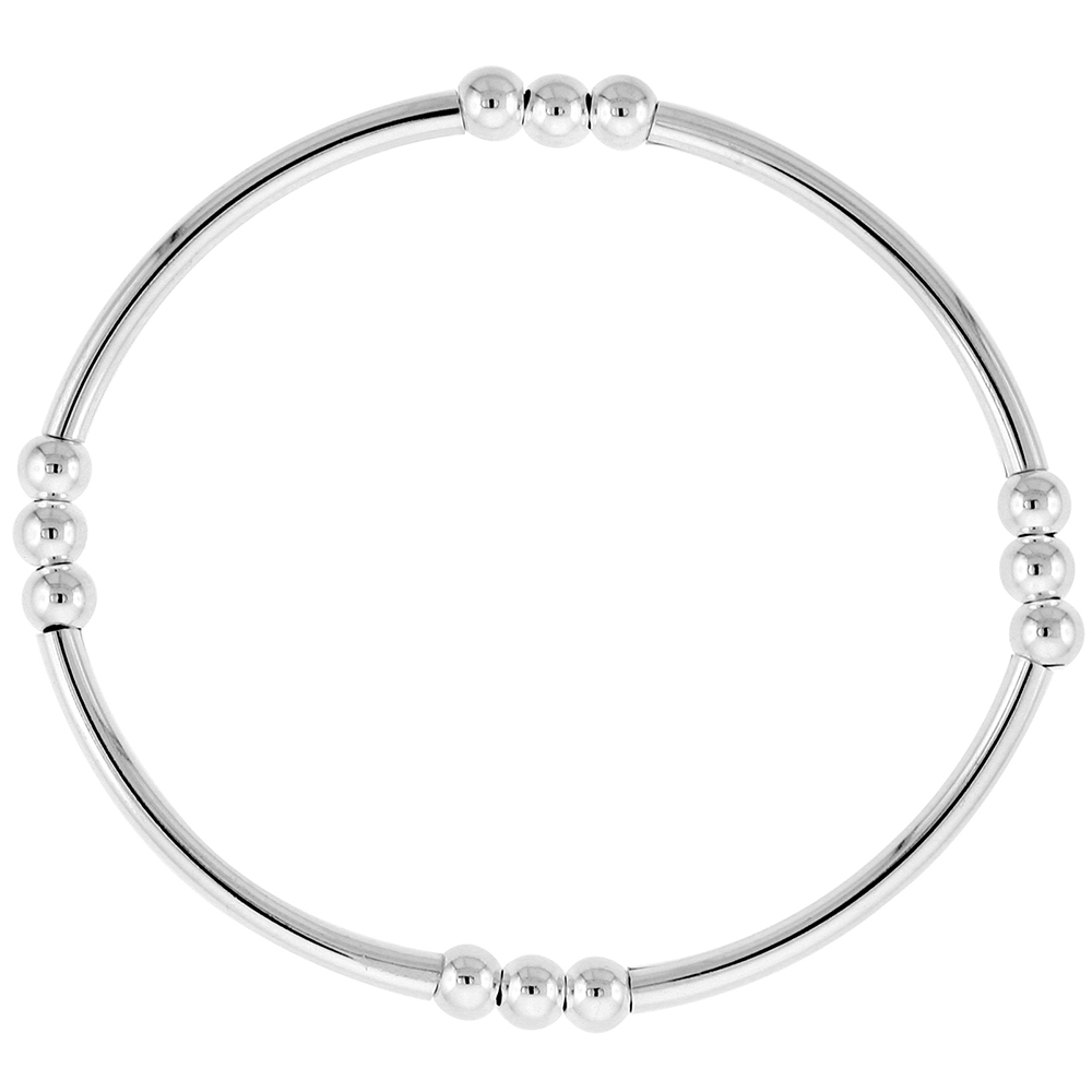 Sterling Silver Stretch Bangle Bracelets for Women Stackable 4 Section with Triple Beads