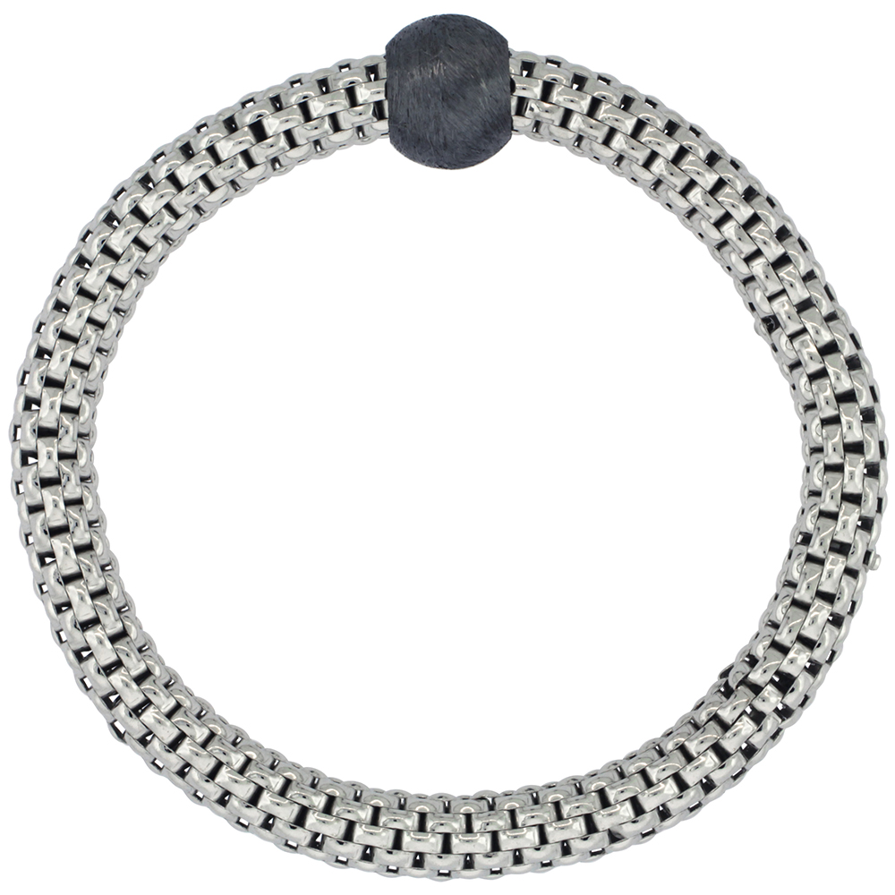 Sterling Silver Textured Flexible Bracelet Single Bead Rhodium Finish, 7-8 inches long