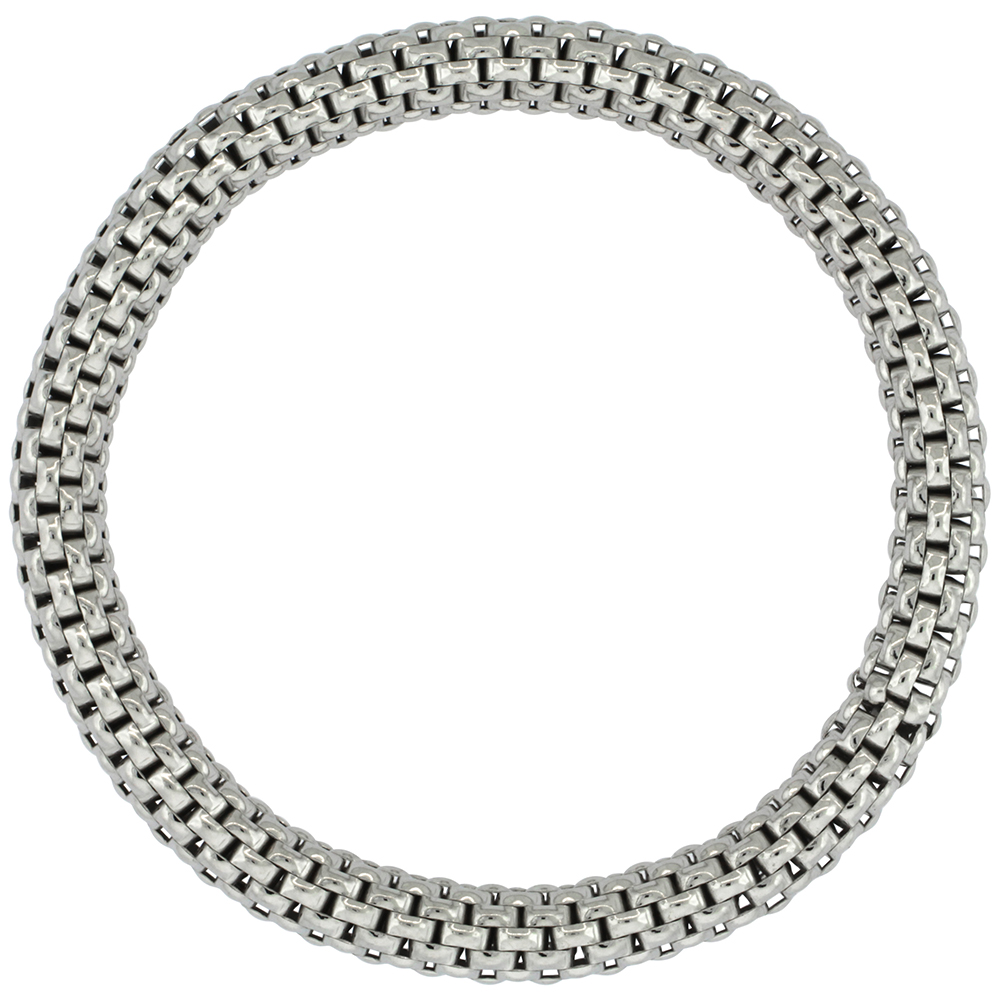 Sterling Silver Italian Flexible Bracelet Textured Rhodium Finish, 7-8 inches long