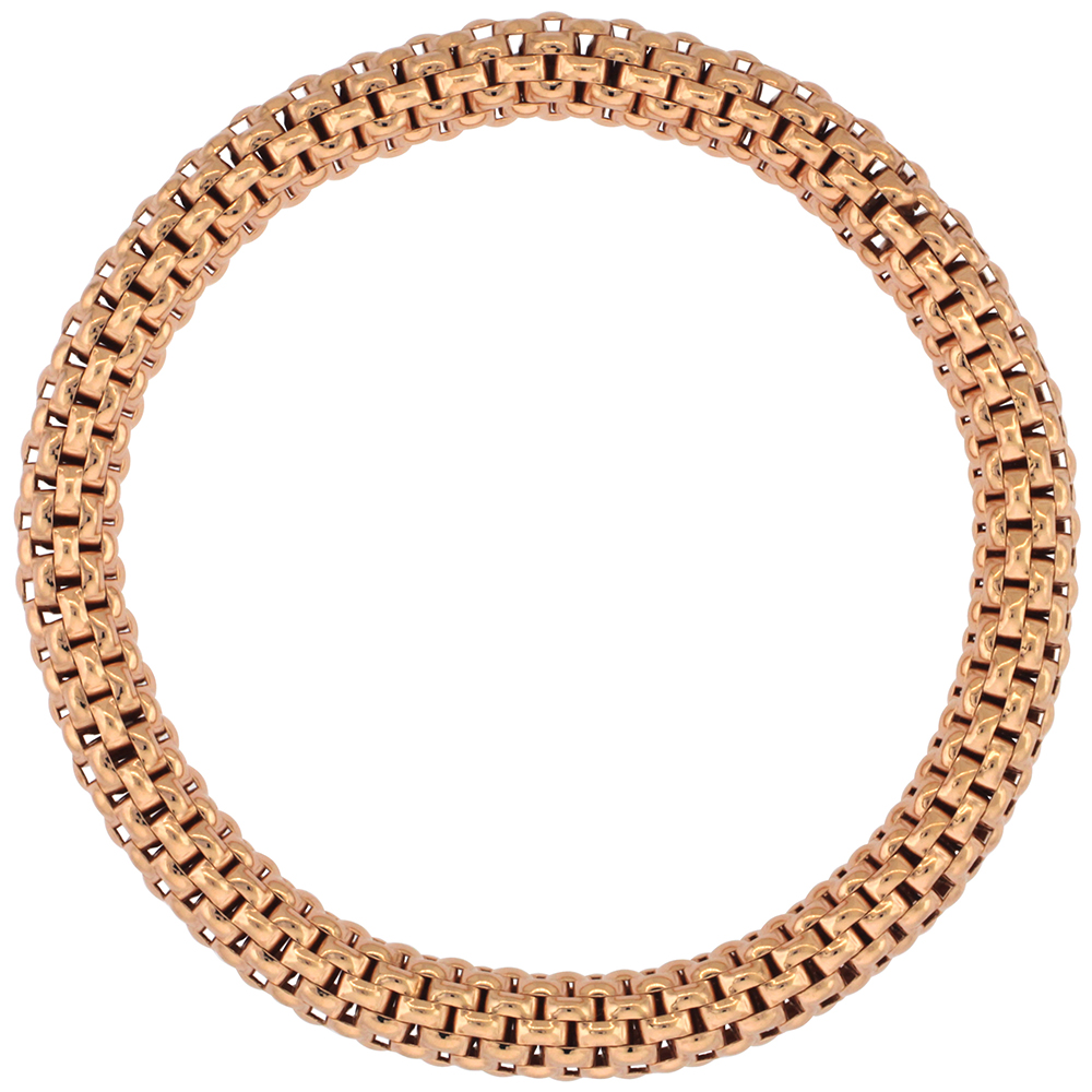 Sterling Silver Flexible Bracelet Textured Rose Gold Finish, 7-8 inches long