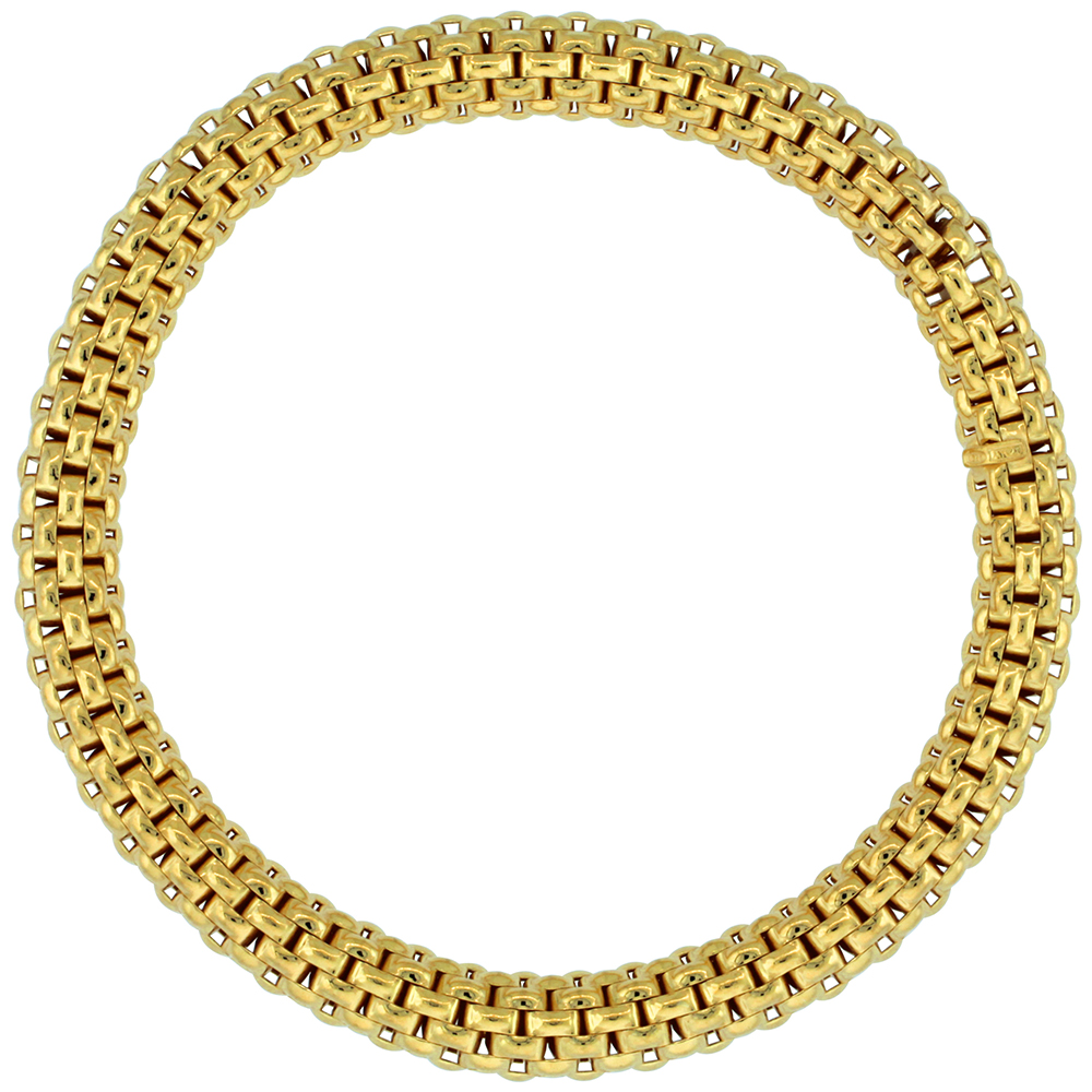 Sterling Silver Italian Flexible Bracelet Textured Yellow Gold Finish, 7-8 inches long