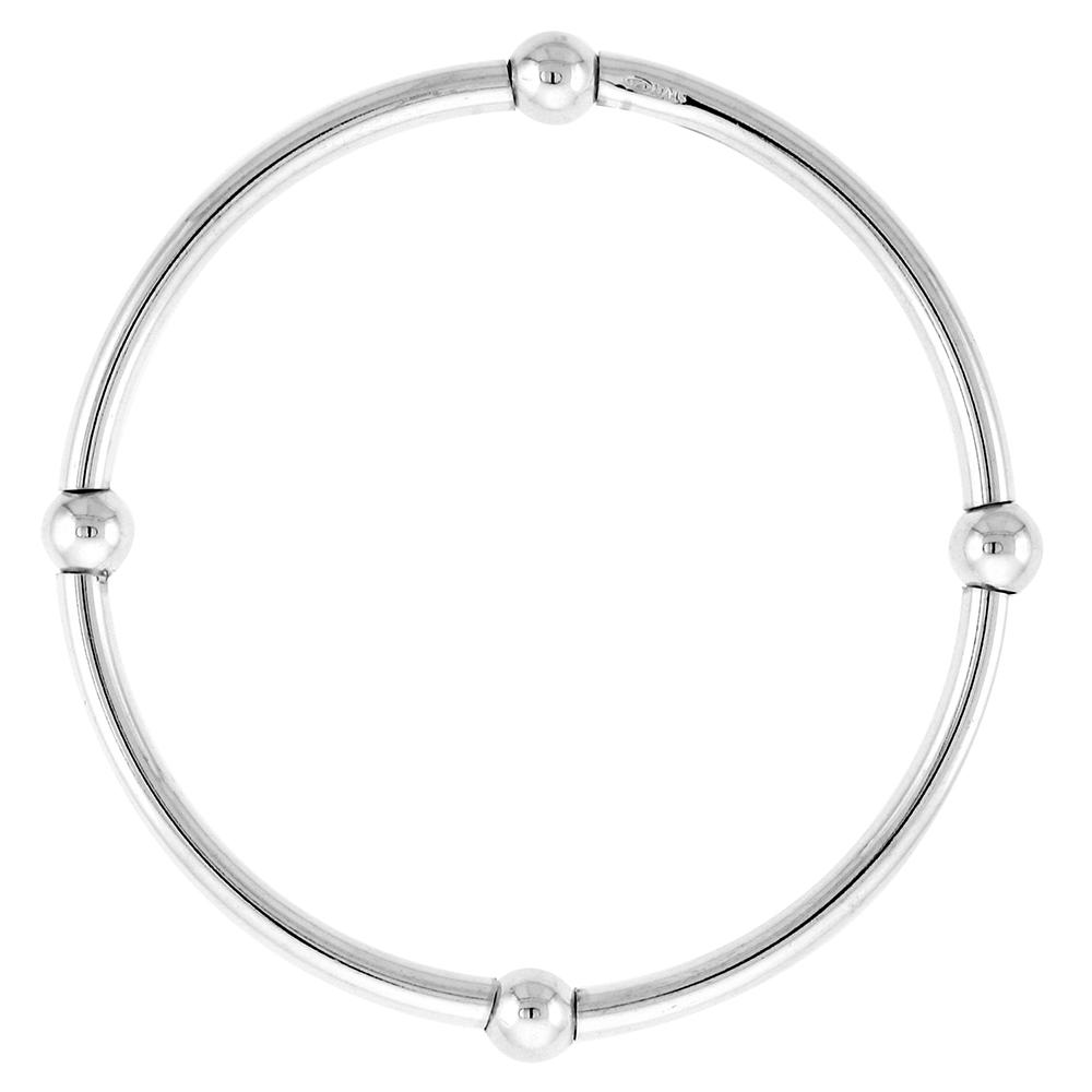 Sterling Silver Stretch Baby Bangle Bracelet, 4 section Single Bead