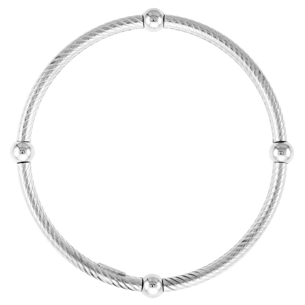 Sterling Silver Striped Stretch Baby Bangle Bracelet, 4 section Single Bead