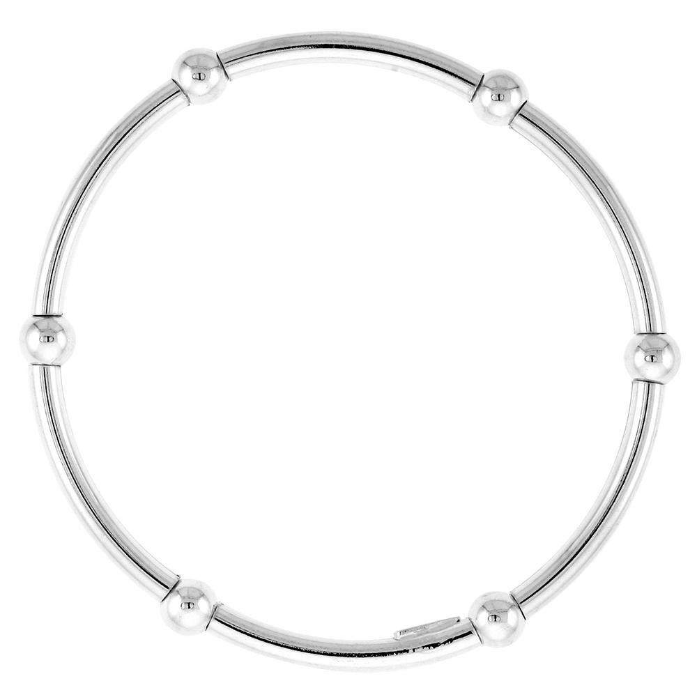 Sterling Silver Stretch Baby Bangle Bracelet, 6 section Single Bead