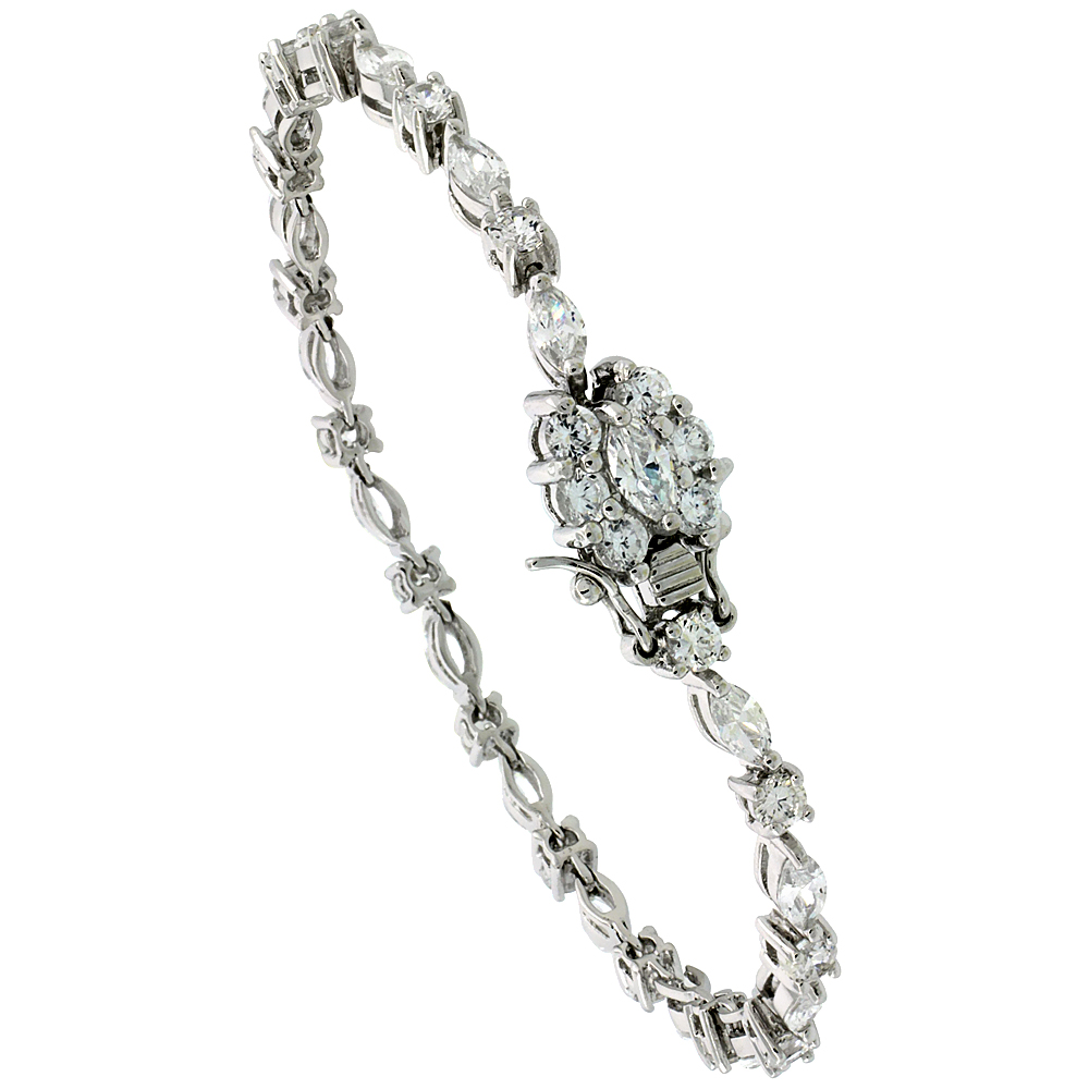 Sterling Silver Tennis Bracelet Cubic Zirconia Stones Alternating Round & Marquise Cut, Rhodium Finish, with Hidden safety clasp, 7 inches